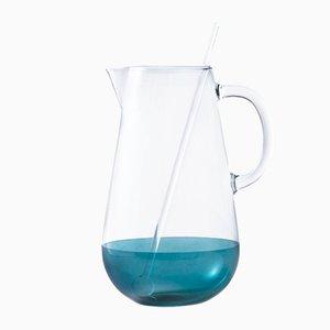 Carafe Limonata en Verre Bleu Soufflé avec Mixer par Cristina Celestino pour Paola C.
