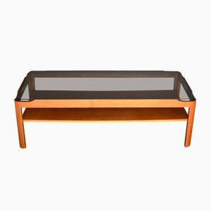 Mid-Century 2-Tier Coffee Table in Teak and Smoked Glass from Myer