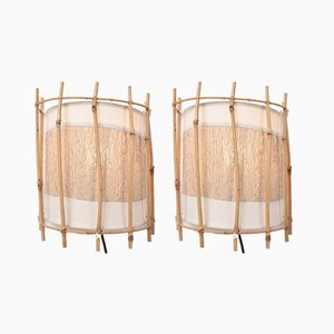 Vintage Bamboo and Rattan Wall Lamps by Louis Sognot, Set of 2