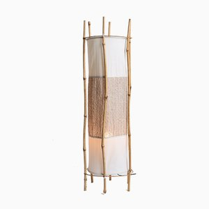 Vintage Bamboo and Rattan Floor Lamp by Louis Sognot