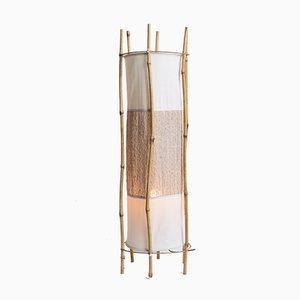 Vintage Bambus und Rattan Standleuchte von Louis Sognot