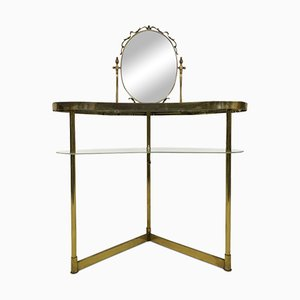 Italian Brass & Glass Dressing Table with Mirror, 1950s