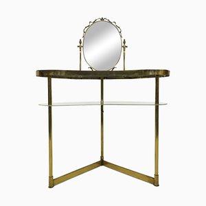 Italienischer Messing & Glas Frisiertisch mit Spiegel, 1950er