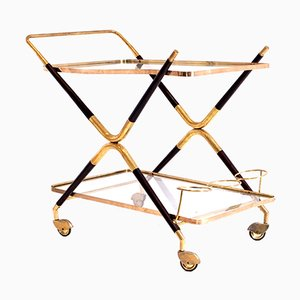 Vintage Italian Gilt Brass & Lacquered Wood Bar Trolley by Cesare Lacca