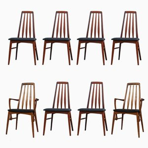 Eva Dining Chairs by Niels Kofoed for Koefoeds Mobelfabrik, 1960s, Set of 8