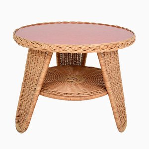 Rattan & Red Melamine Coffee Table, 1960s