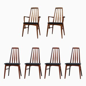 Eva Dining Chairs by Niels Kofoed for Koefoeds Mobelfabrik, 1960s, Set of 6