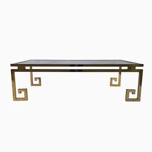 Vintage Brass and Chrome Greek Key Coffee Table