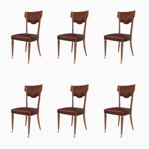 Sillas de comedor italianas vintage de nogal y bronce con tapicería de seda, años 50. Juego de 6