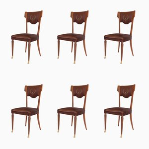Vintage Italian Walnut & Bronze Dining Chairs with Silk Upholstery, 1950s, Set of 6