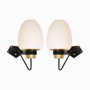 Large Opaline Wall Sconces, 1950s, Set of 2