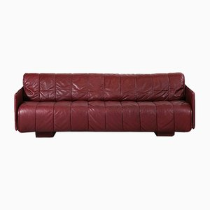 Swiss Leather Sofa Bed from de Sede, 1970s