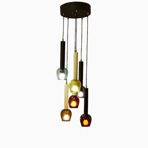 Lámpara de araña italiana de vidrio pintado y seis niveles, años 60