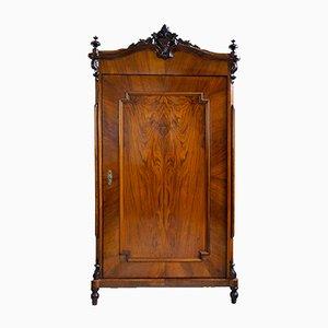 Kleiderschrank mit Tür und Nussholz Furnier im Stil von Louis Philippe, 1860er