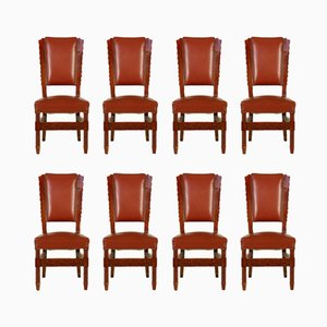 Italian Stained Beech & Leatherette Chairs, 1950s, Set of 8