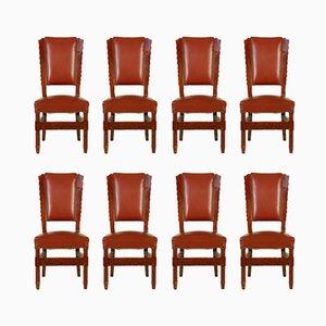 Italienische Stühle aus gebeiztem Buchenholz & Kunstleder, 1950er, 8er Set