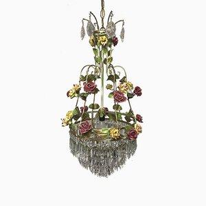 Lámpara de araña italiana vintage con flores de porcelana y cristal