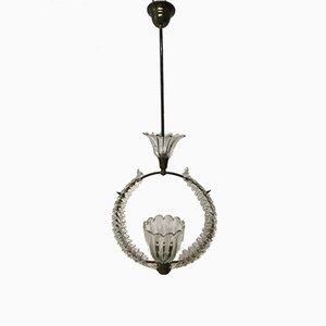 Lámpara colgante vintage de cristal de Murano de Ercole Barovier