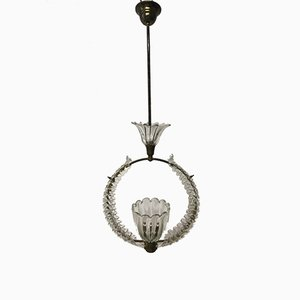 Lampe à Suspension Vintage en Verre de Murano par Ercole Barovier