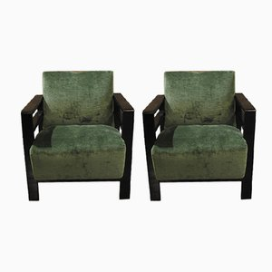 Vintage French Rationalist Lounge Chairs, Set of 2