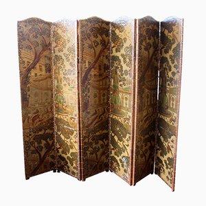 European Six Fold Leather Screen, 1860s