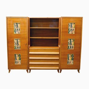 Italian Ash and Painted Glass Dresser & Cabinets, 1950s