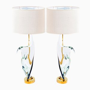 Lampes de Bureau Mid-Century en Verre Murano & Laiton de Cenedese, Set de 2