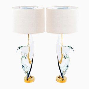 Mid-Century Tischlampen aus Murano Glas & Messing von Cenedese, 2er Set