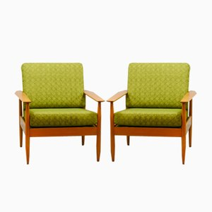 Mid-Century Scandinavian Lounge Chairs from France and Son, 1960s, Set of 2