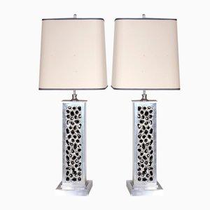 Lámparas de mesa belgas de aluminio fundido, años 70. Juego de 2