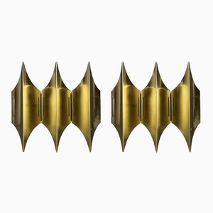 Gothic III Wall Sconces by Bent Karlby for Lyfa, 1960s, Set of 2