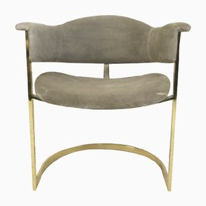 Gilt Metal & Alcantara Desk Chair, 1970s