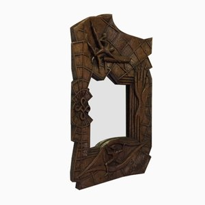 French Carved Wooden Mirror by Johnny Ludecher, 1960s