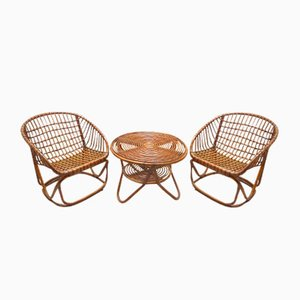 Rattan Living Room or Garden Set from Vittorio Bonacina, 1950s