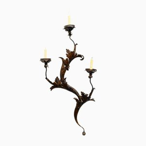 Vintage Italian Wrought Iron Floral Wall Lamp, 1940s