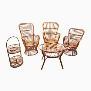 Vintage Italian Rattan Living Room or Garden Set from Vittorio Bonacina, 1950s