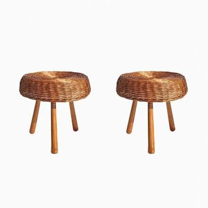 Wicker Rattan Stools by Tony Paul, 1950s, Set of 2