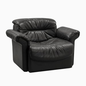 Black Leather DS17/1 Lounge Chair from de Sede, 1970s