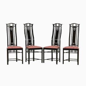 Esszimmerstühle mit hoher Lehne von Giorgetti, 1980er, 4er Set