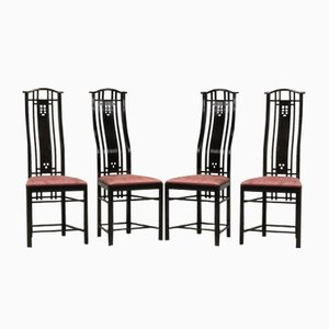 High Back Dining Chairs from Giorgetti, 1980s, Set of 4