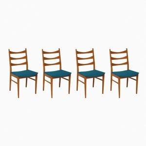 Sillas escandinavas con asientos en azul, años 60. Juego de 4