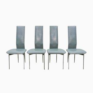 Leder Esszimmerstühle von Giancarlo Vegni & Gianfranco Gualtierotti für Fasem, 1980er, 4er Set