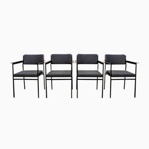 Graue Esszimmerstühle aus Bouclé & Stahl, 1960er, 4er Set