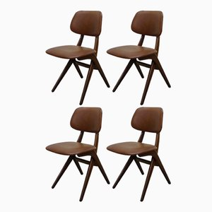 Teak and Caramel Leatherette Dining Chairs by Louis van Teeffelen for WéBé, 1960s, Set of 4