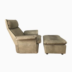 Leather Lounge Chair and Ottoman Set from de Sede, 1960s