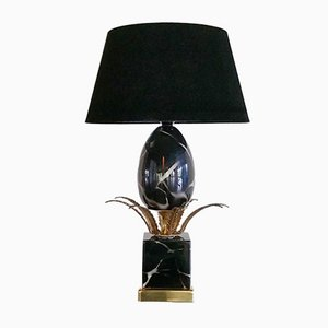 Hollywood Regency Black Ostrich Egg Table Lamp, 1970s