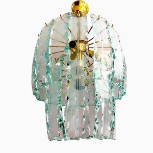 Lampadario in vetro di Murano e metallo dorato, anni '70