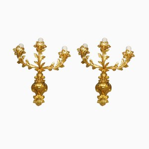 Antique Napoleon III Gilt Bronze Wall Lamps, Set of 2