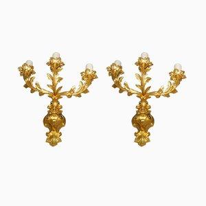 Lampade da parete Napoleone III in bronzo dorato, set di 2