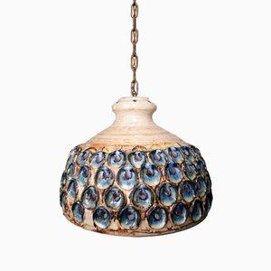Lámpara colgante danesa grande de esmalte rosa y cerámica azul hecha a mano de Axella, años 70